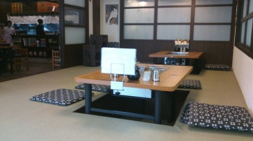 Two of the four tables in the tatami room