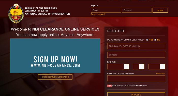 NBI Online Registration Page